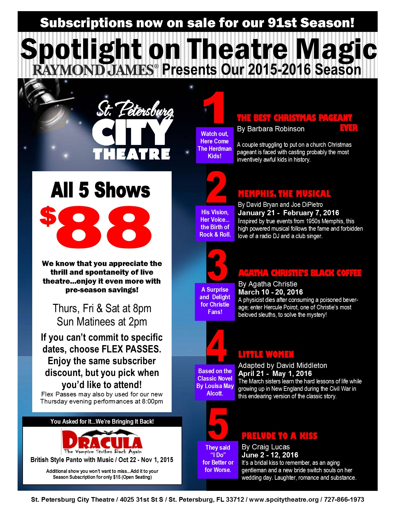Season Ticket Flyer & Order Form 2015-2016 - 5 Shows - Page 1